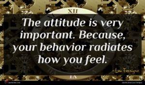 Lou Ferrigno quote : The attitude is very ...