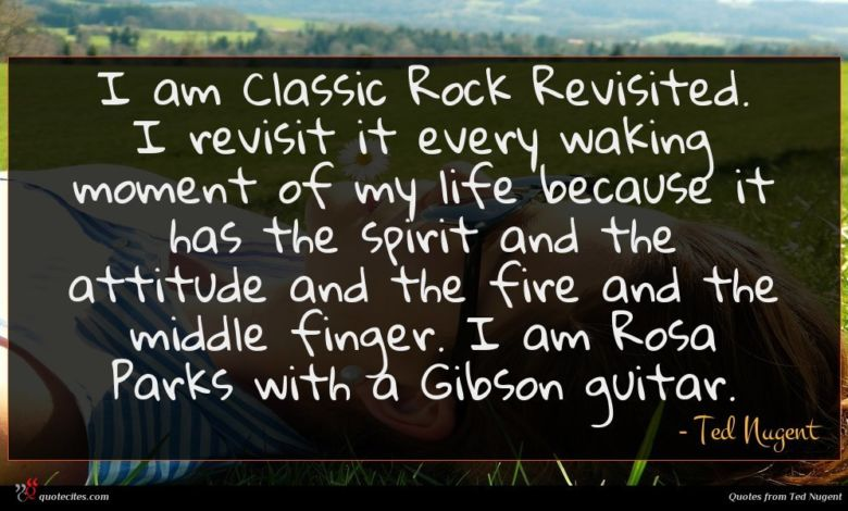 I am Classic Rock Revisited. I revisit it every waking moment of my life because it has the spirit and the attitude and the fire and the middle finger. I am Rosa Parks with a Gibson guitar.