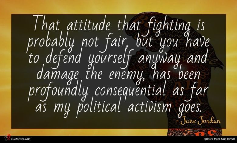 That attitude that fighting is probably not fair, but you have to defend yourself anyway and damage the enemy, has been profoundly consequential as far as my political activism goes.