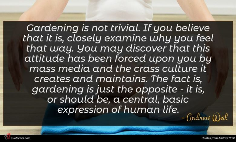 Photo of Andrew Weil quote : Gardening is not trivial …
