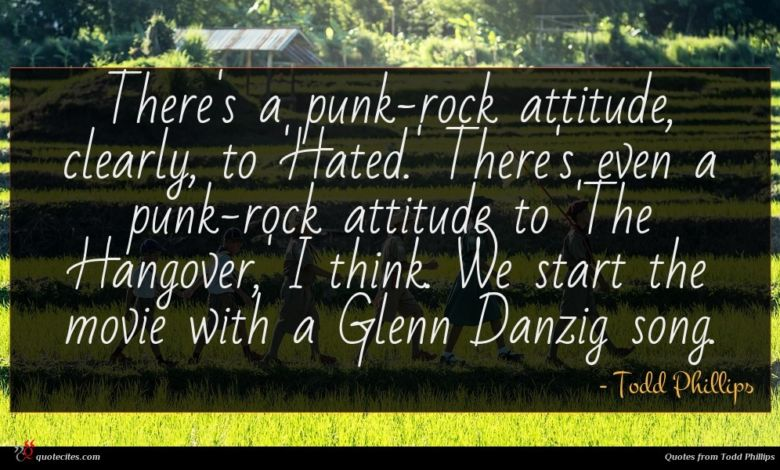There's a punk-rock attitude, clearly, to 'Hated.' There's even a punk-rock attitude to 'The Hangover,' I think. We start the movie with a Glenn Danzig song.