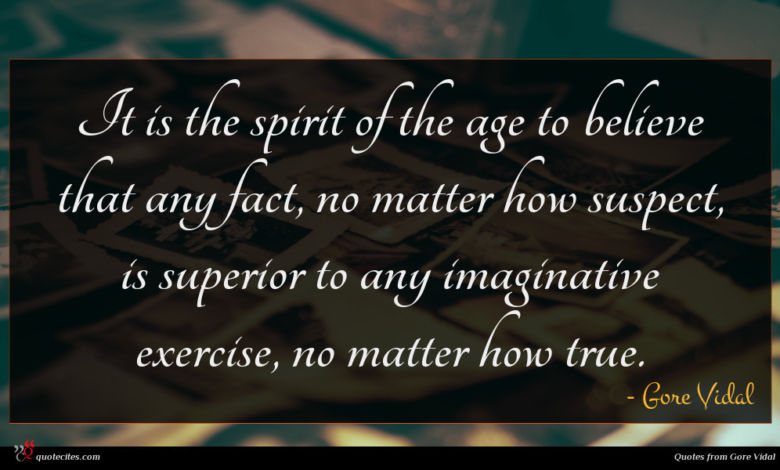 It is the spirit of the age to believe that any fact, no matter how suspect, is superior to any imaginative exercise, no matter how true.