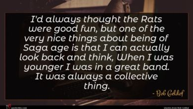 Photo of Bob Geldof quote : I'd always thought the …