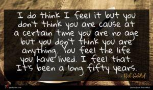Bob Geldof quote : I do think I ...