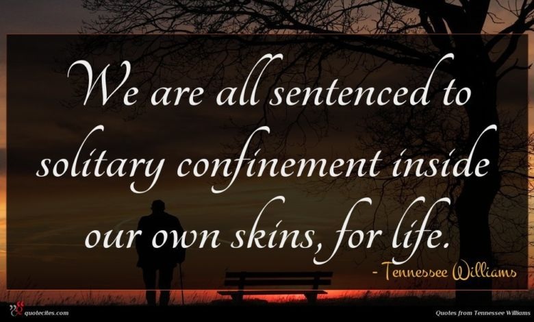 We are all sentenced to solitary confinement inside our own skins, for life.