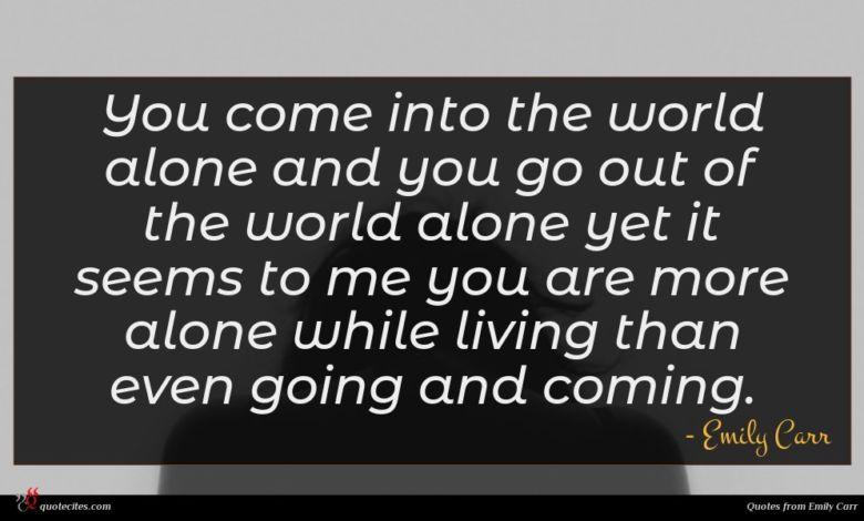 You come into the world alone and you go out of the world alone yet it seems to me you are more alone while living than even going and coming.