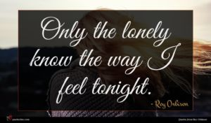Roy Orbison quote : Only the lonely know ...