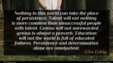 Photo of Calvin Coolidge quote : Nothing in this world …