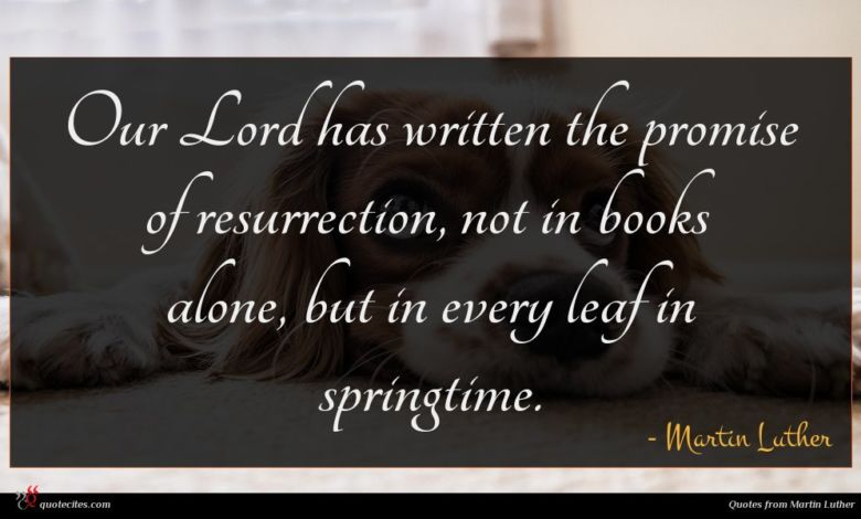 Our Lord has written the promise of resurrection, not in books alone, but in every leaf in springtime.