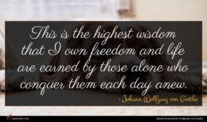 Johann Wolfgang von Goethe quote : This is the highest ...