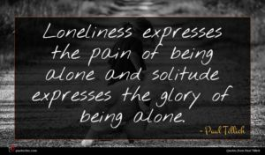 Paul Tillich quote : Loneliness expresses the pain ...