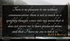Michel de Montaigne quote : There is no pleasure ...
