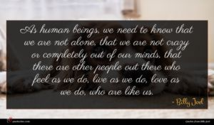Billy Joel quote : As human beings we ...