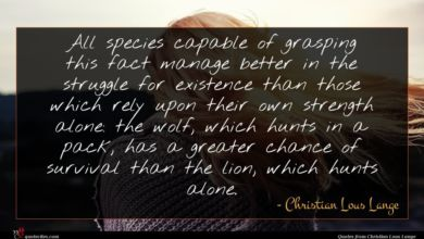 Photo of Christian Lous Lange quote : All species capable of …