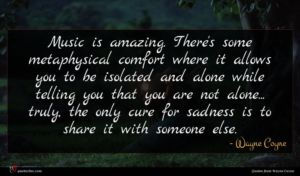 Wayne Coyne quote : Music is amazing There's ...