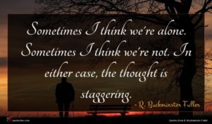R. Buckminster Fuller quote : Sometimes I think we're ...