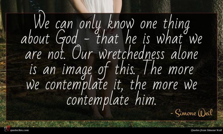 We can only know one thing about God - that he is what we are not. Our wretchedness alone is an image of this. The more we contemplate it, the more we contemplate him.