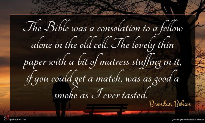 The Bible was a consolation to a fellow alone in the old cell. The lovely thin paper with a bit of matress stuffing in it, if you could get a match, was as good a smoke as I ever tasted.