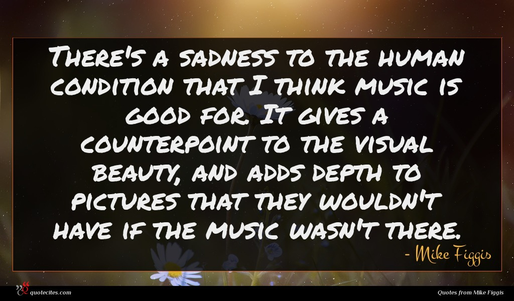 There's a sadness to the human condition that I think music is good for. It gives a counterpoint to the visual beauty, and adds depth to pictures that they wouldn't have if the music wasn't there.