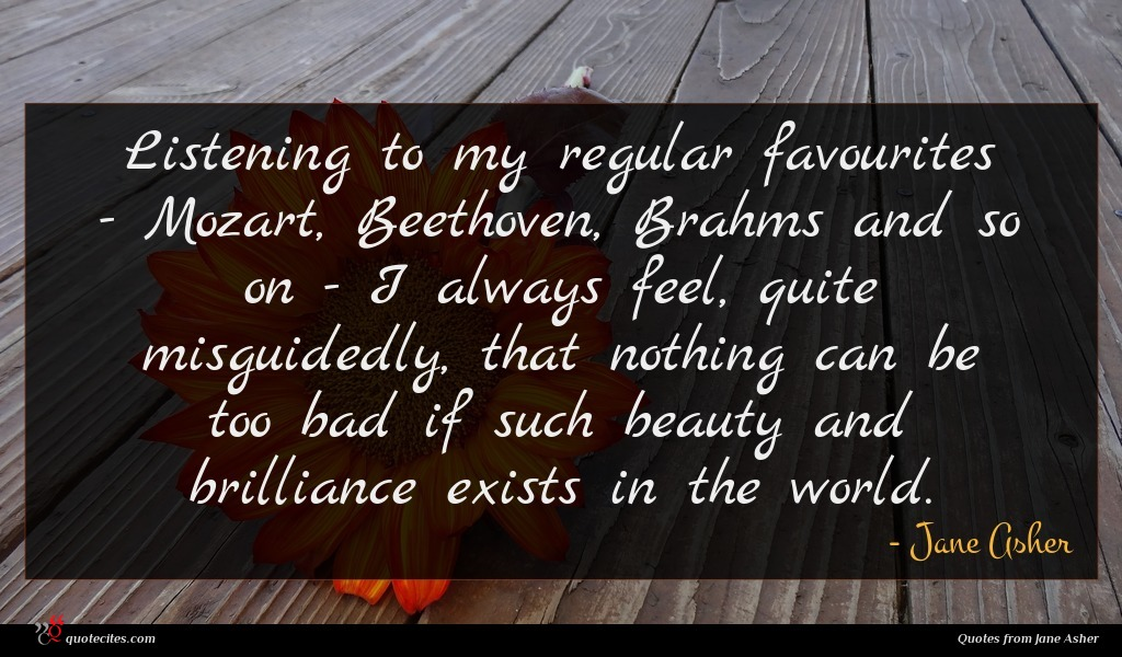 Listening to my regular favourites - Mozart, Beethoven, Brahms and so on - I always feel, quite misguidedly, that nothing can be too bad if such beauty and brilliance exists in the world.