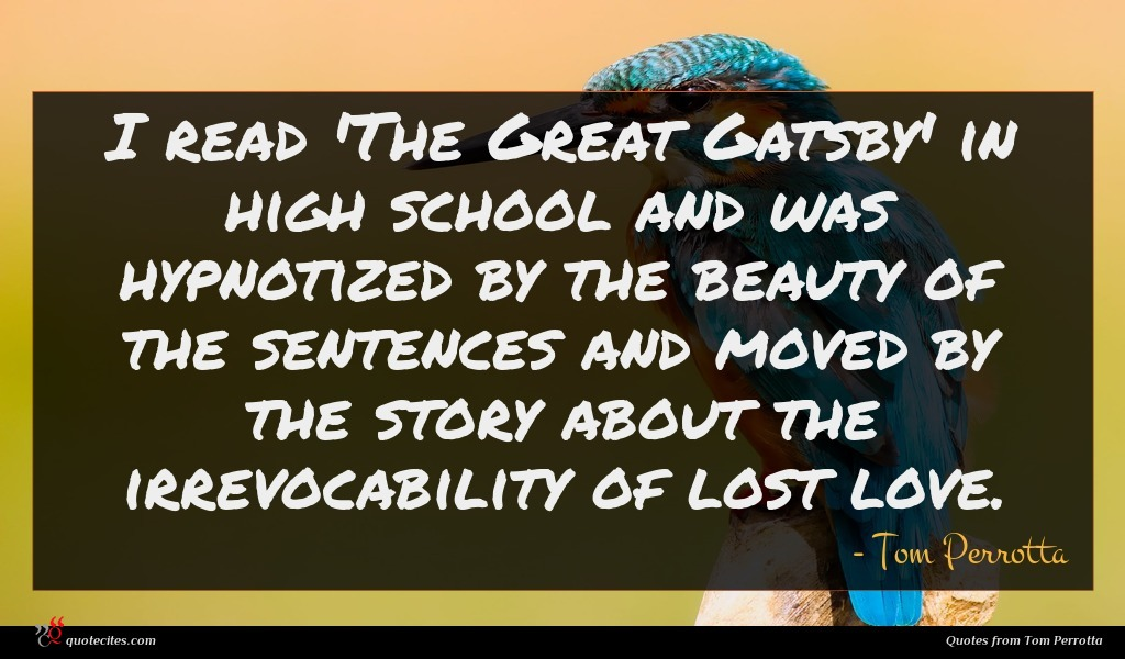 I read 'The Great Gatsby' in high school and was hypnotized by the beauty of the sentences and moved by the story about the irrevocability of lost love.
