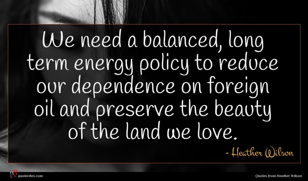 We need a balanced, long term energy policy to reduce our dependence on foreign oil and preserve the beauty of the land we love.