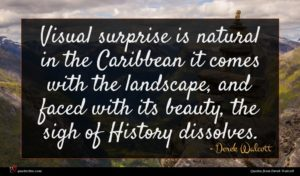 Derek Walcott quote : Visual surprise is natural ...