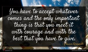 Eleanor Roosevelt quote : You have to accept ...