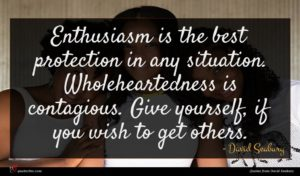 David Seabury quote : Enthusiasm is the best ...