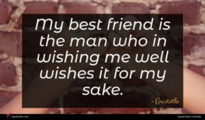 Aristotle quote : My best friend is ...