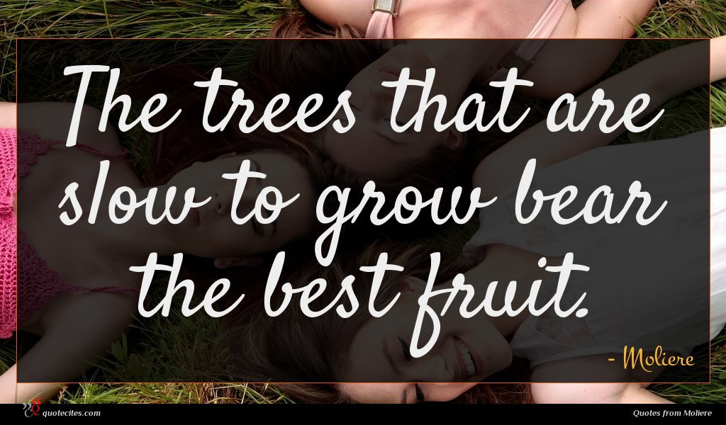 The trees that are slow to grow bear the best fruit.