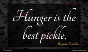 Benjamin Franklin quote : Hunger is the best ...