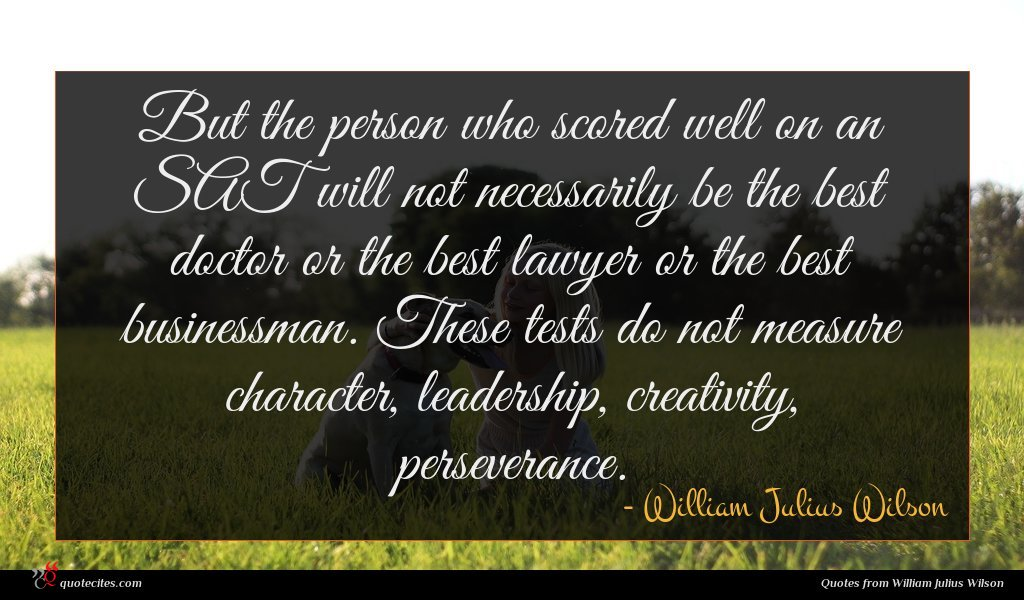 Photo of William Julius Wilson quote : But the person who …
