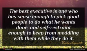 Theodore Roosevelt quote : The best executive is ...