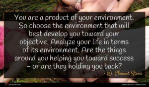 W. Clement Stone quote : You are a product ...