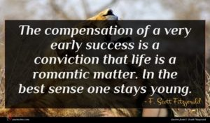 F. Scott Fitzgerald quote : The compensation of a ...