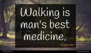 Hippocrates quote : Walking is man's best ...
