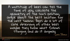 Lewis Thomas quote : A multitude of bees ...