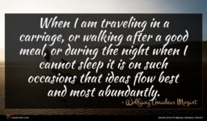 Wolfgang Amadeus Mozart quote : When I am traveling ...