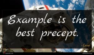 Aesop quote : Example is the best ...