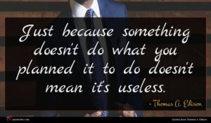 Thomas A. Edison quote : Just because something doesn't ...