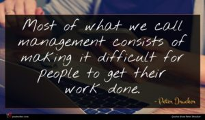 Peter Drucker quote : Most of what we ...