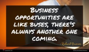 Richard Branson quote : Business opportunities are like ...