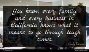 Carly Fiorina quote : You know every family ...