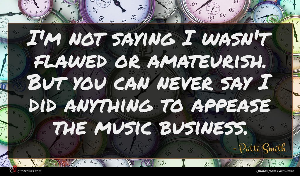 I'm not saying I wasn't flawed or amateurish. But you can never say I did anything to appease the music business.