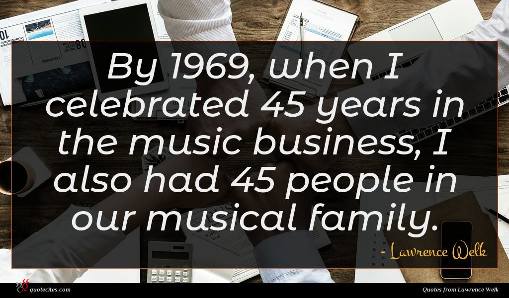Photo of Lawrence Welk quote : By when I celebrated …