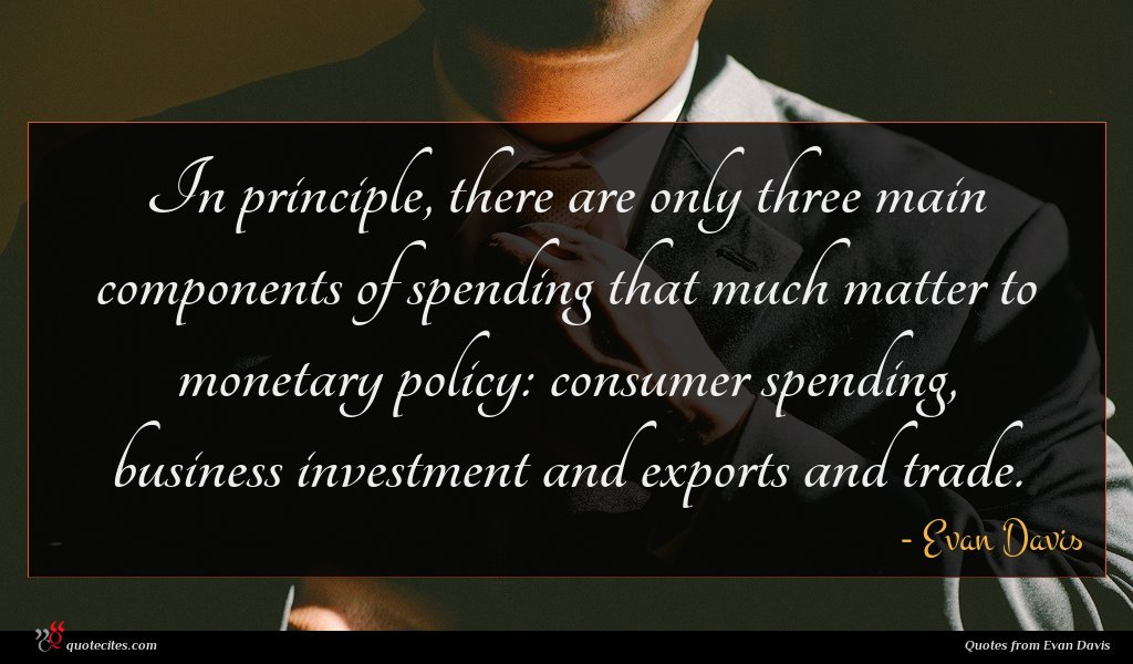In principle, there are only three main components of spending that much matter to monetary policy: consumer spending, business investment and exports and trade.