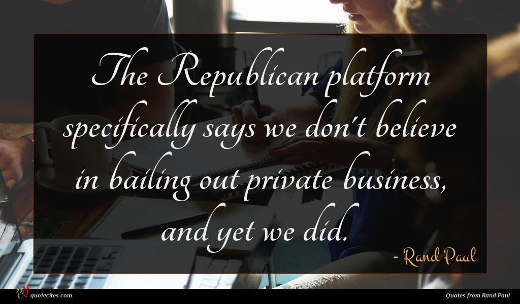 The Republican platform specifically says we don't believe in bailing out private business, and yet we did.