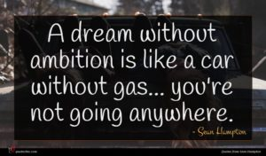 Sean Hampton quote : A dream without ambition ...