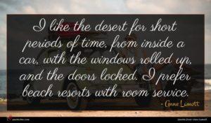 Anne Lamott quote : I like the desert ...